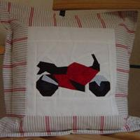 Monika Stropiep-Claassen made a pillow for her son from the motorcycle patterns